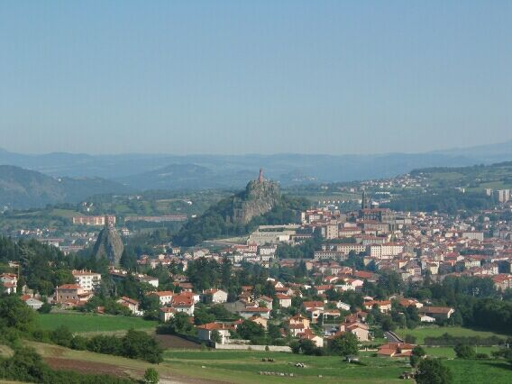 The impressive statues a-top rocky outcrops in Le Puy-en-Velay.